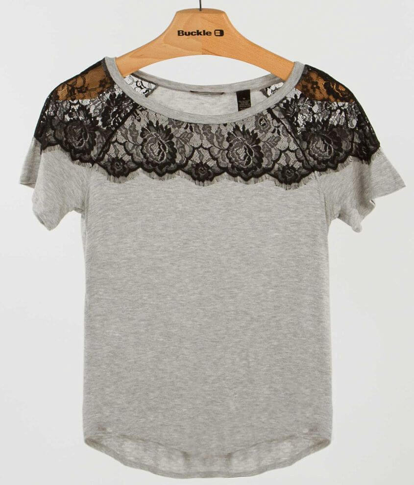 BKE red Pieced Lace Top front view