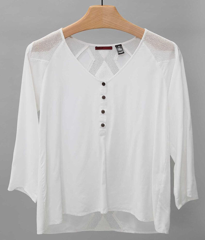 BKE red Pieced Henley Top front view