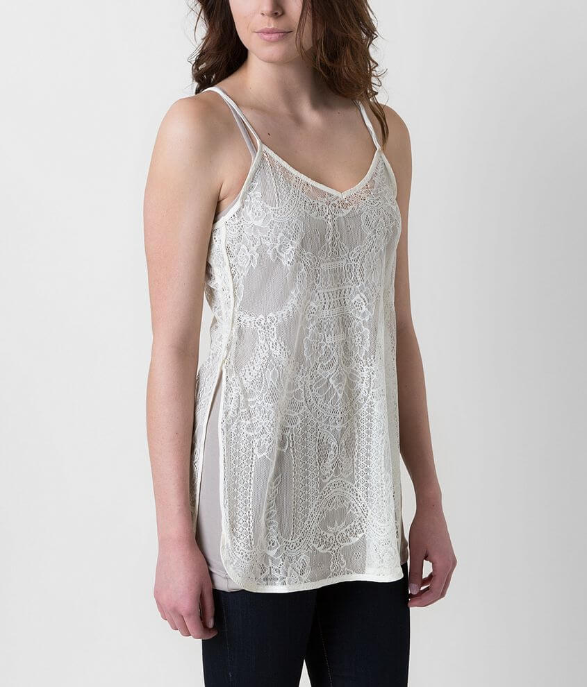 red by BKE Lace Tank Top front view