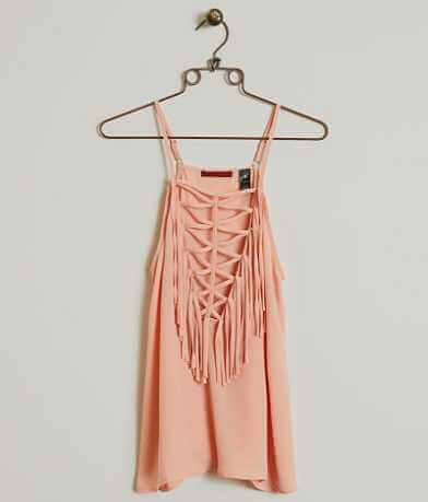 red by BKE Fringe Tank Top