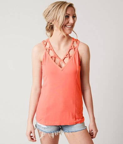 red by BKE Lattice Tank Top