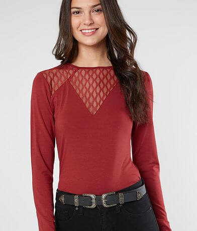 red by BKE Embroidered Mesh Top