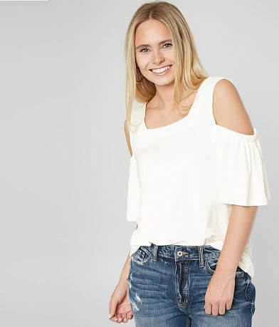 red by BKE Cold Shoulder Square Neck Top