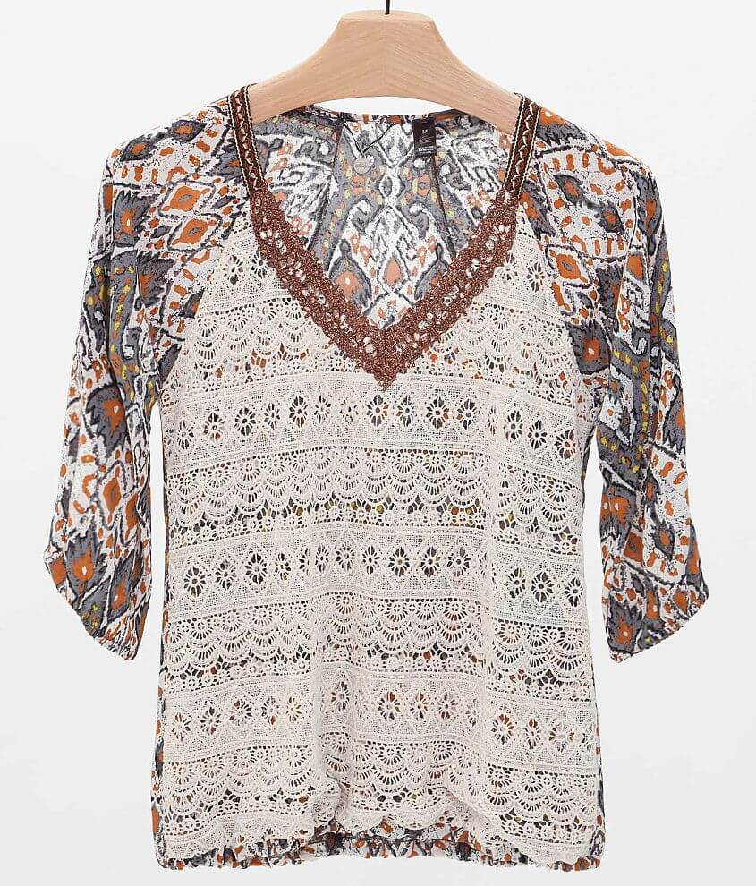 BKE Boutique Lace Overlay Top front view