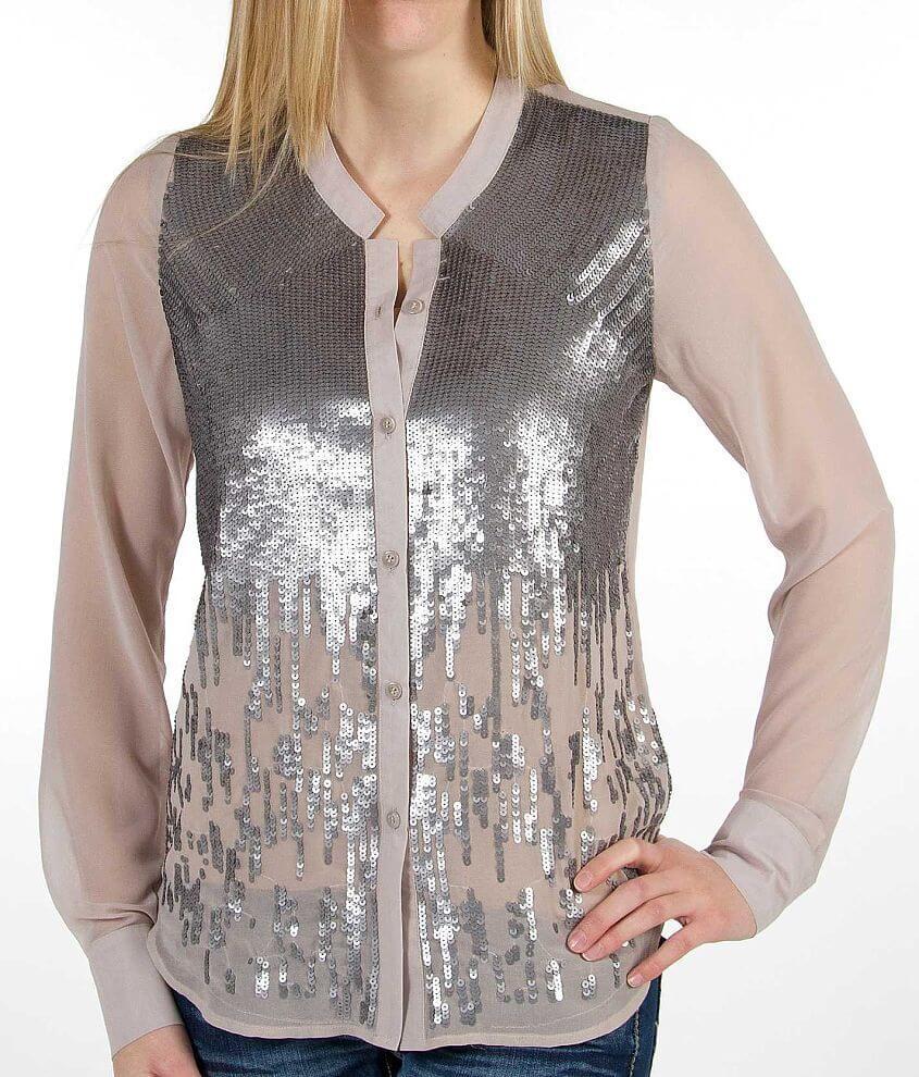 BKE Boutique Chiffon Shirt front view