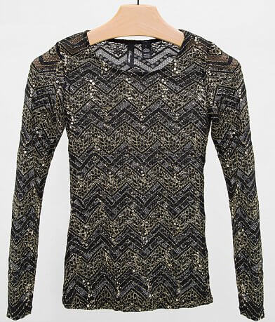 BKE Boutique Open Weave Top