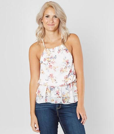 BKE Boutique Swiss Dot Chiffon Tank Top