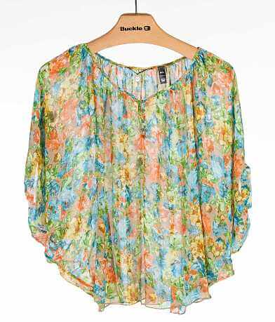 BKE Boutique Chiffon Henley Top