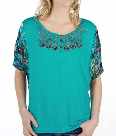 BKE Boutique Pieced Henley Top