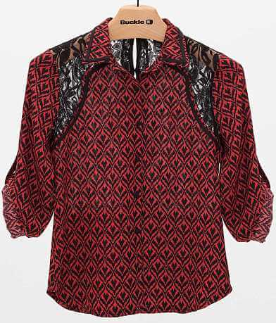 BKE Boutique Printed Chiffon Blouse