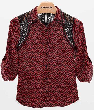 BKE Boutique Printed Chiffon Blouse