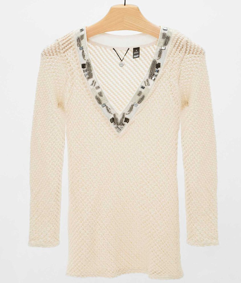 BKE Boutique Open Weave Sweater front view
