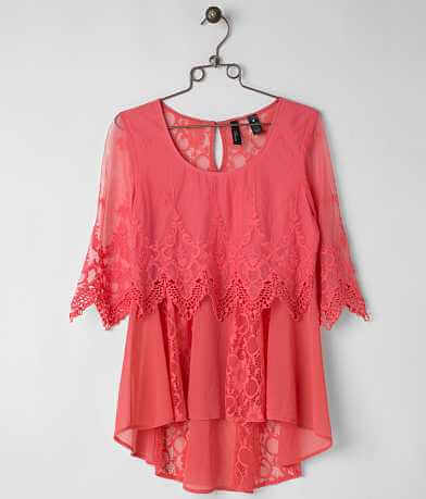 BKE Boutique Pieced Lace Top
