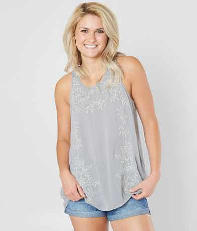 BKE Boutique Floral Embroidered Tank Top