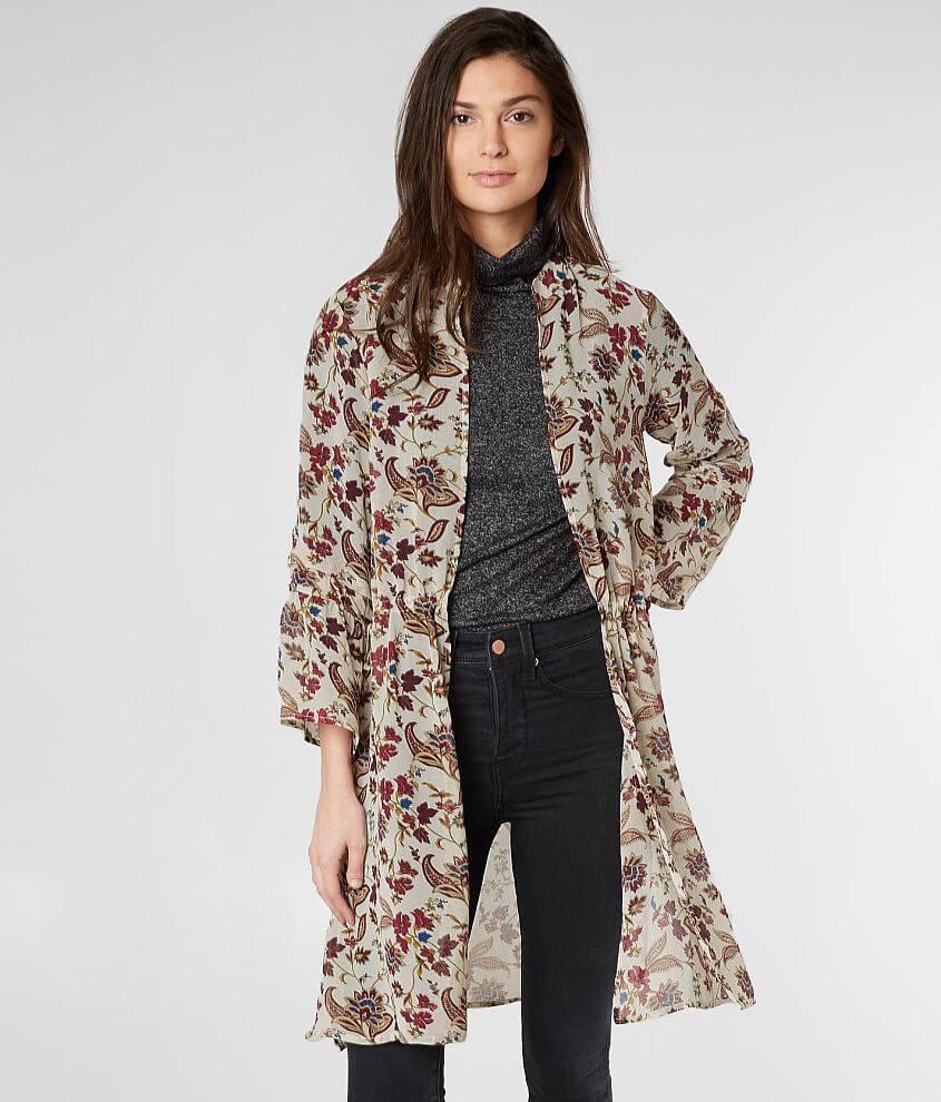 BKE Boutique Floral Collared Kimono front view