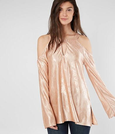 BKE Boutique Satin Cold Shoulder Top