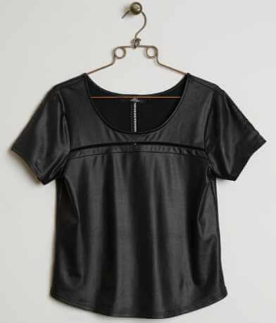 BKE Boutique Faux Leather Top