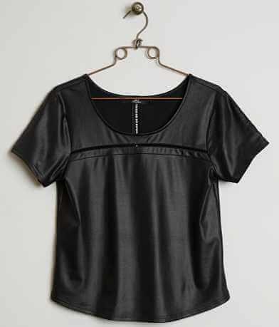 BKE Boutique Faux Leather Top