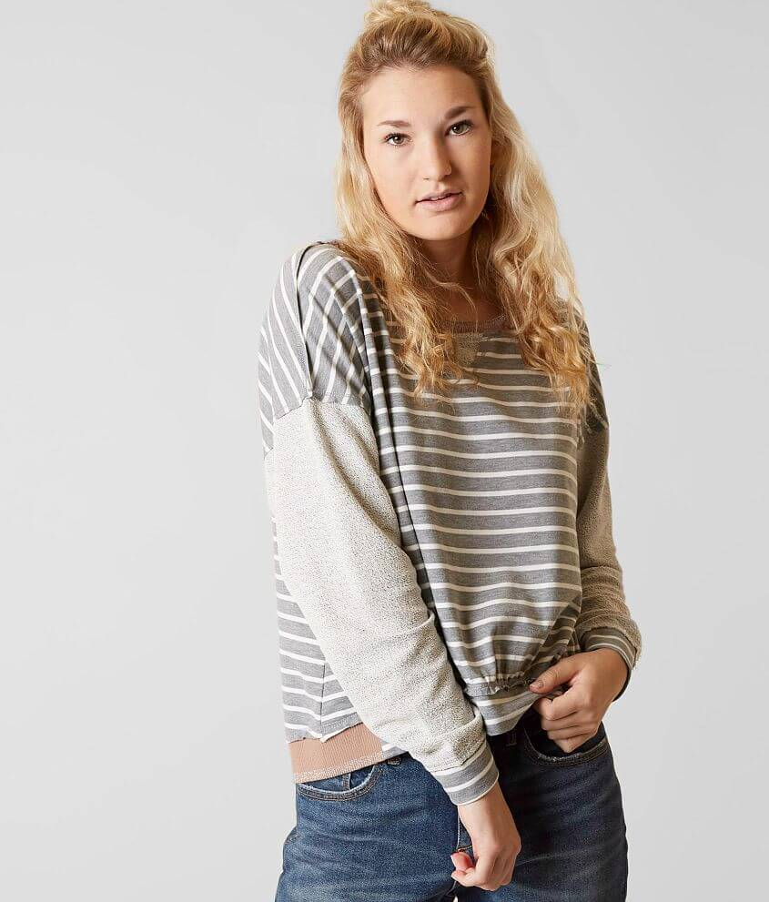 Gilded Intent Striped Sweatshirt front view