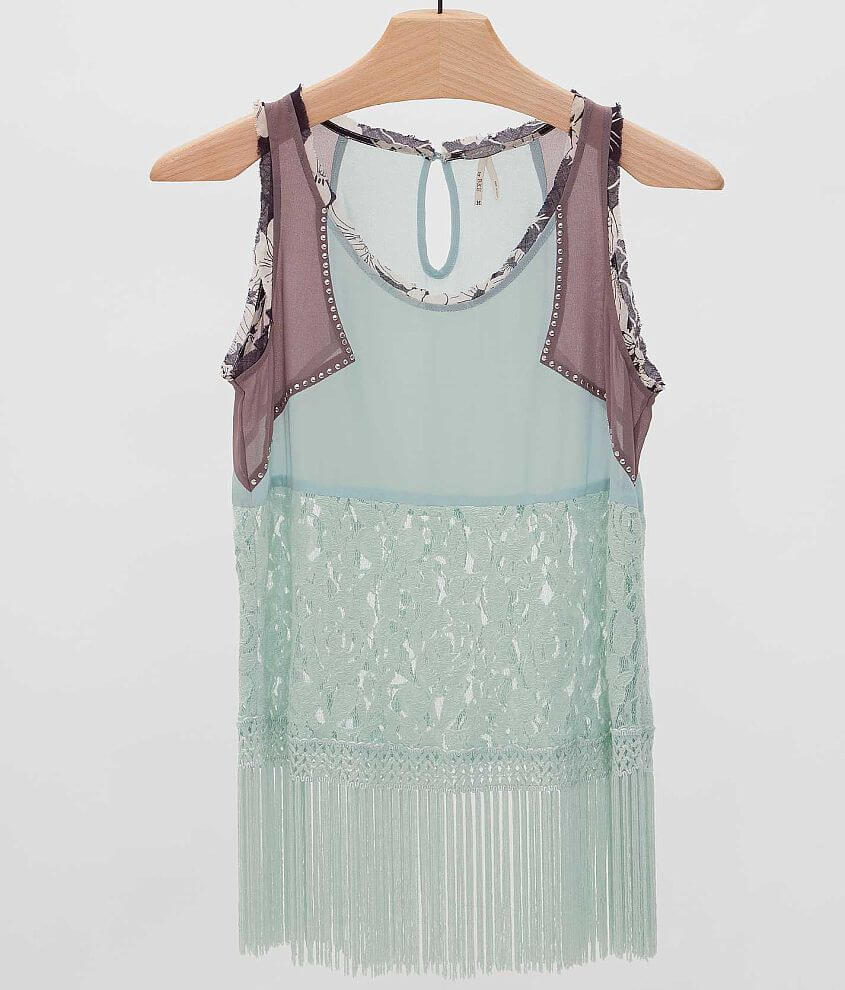 Gimmicks by BKE Fringe Tank Top front view