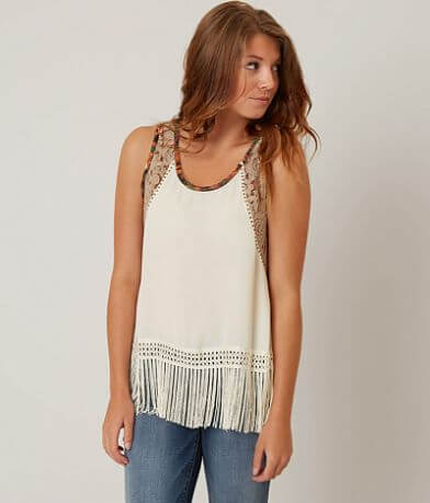Gimmicks Pieced Fringe Tank Top
