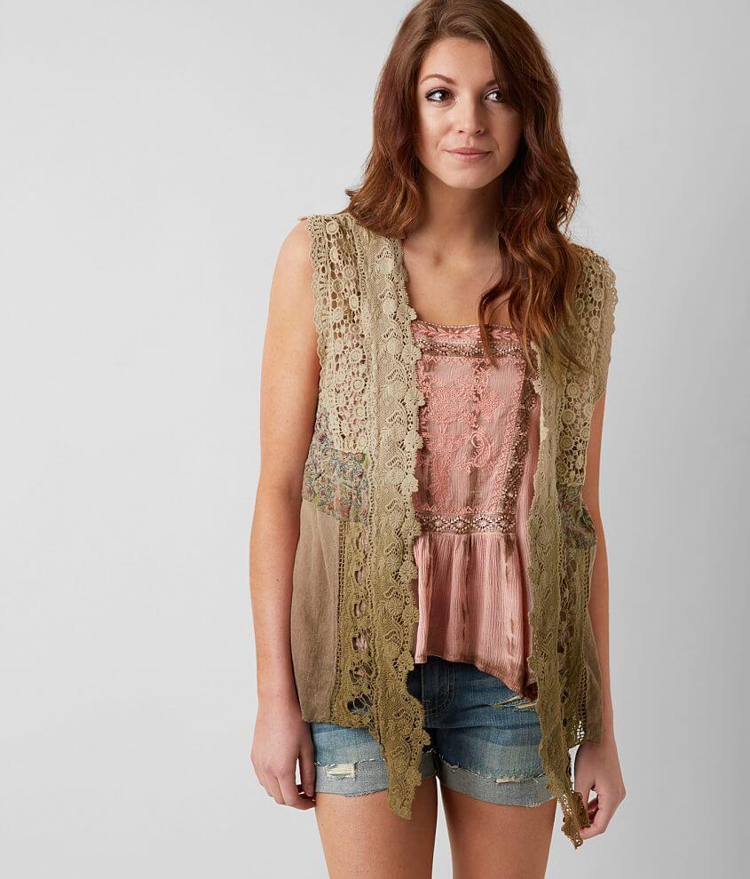 Gimmicks Dip Dye Crochet Vest front view
