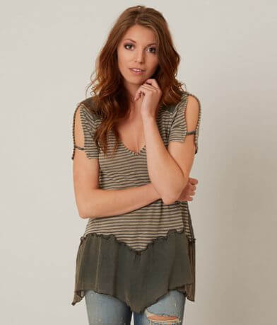 Gimmicks Striped Back Button Top