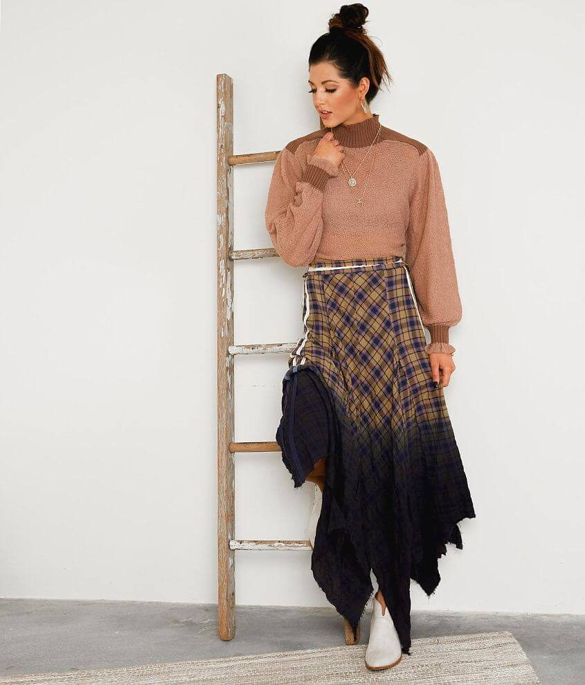 Gimmicks Raw Edge Plaid Maxi Skirt front view