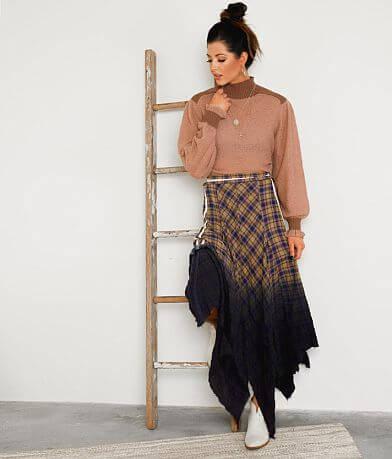 Gimmicks Raw Edge Plaid Maxi Skirt