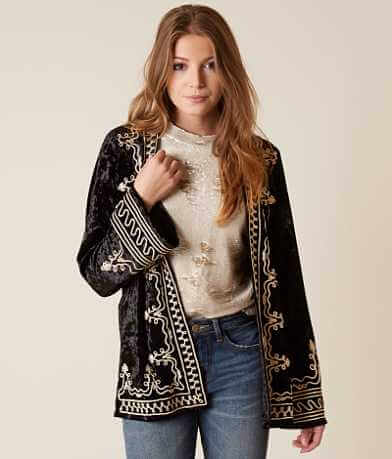 Gimmicks Embroidered Velvet Cardigan