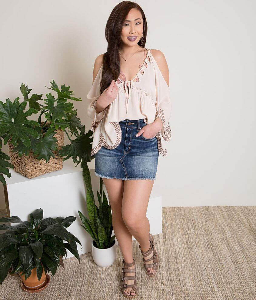 Gimmicks Embroidered Cold Shoulder Top front view