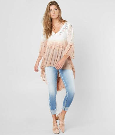 Gimmicks Floral Embroidered Mesh Top