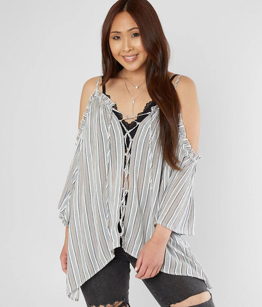 Gimmicks Striped Cold Shoulder Top front view