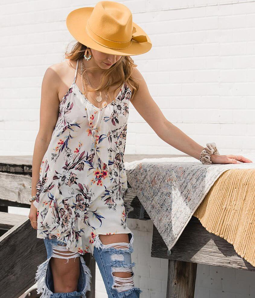 Gimmicks Floral Ruffle Tunic Tank Top front view