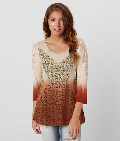 Gimmicks Raw Edge Embroidered Top
