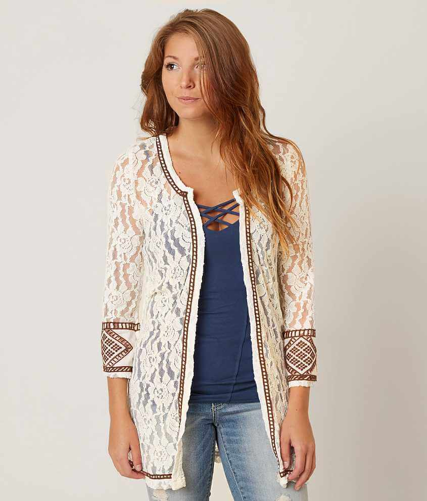 Gimmicks Lace Cardigan - Women's Kimonos in Cream Copper Brown ...