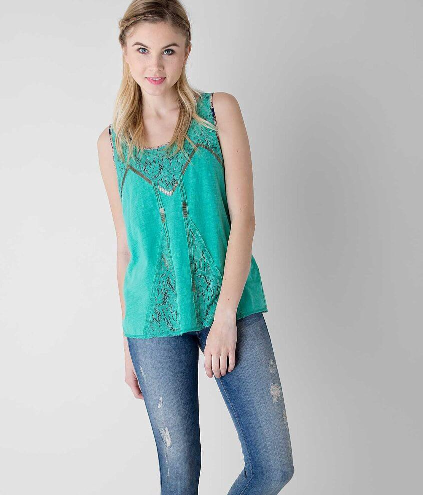 Gimmicks Pieced Lace Tank Top front view