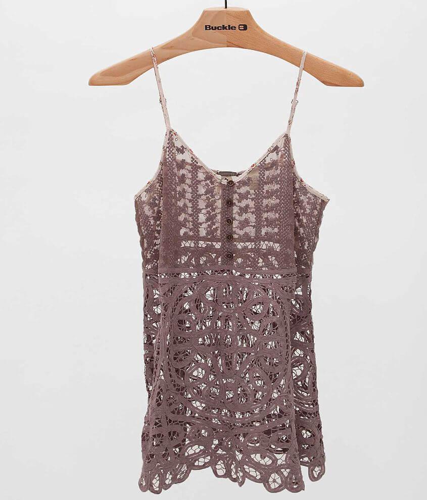 096de38b95b5e8 Gimmicks by BKE Pieced Lace Henley Tank Top - Women s Shirts in ...