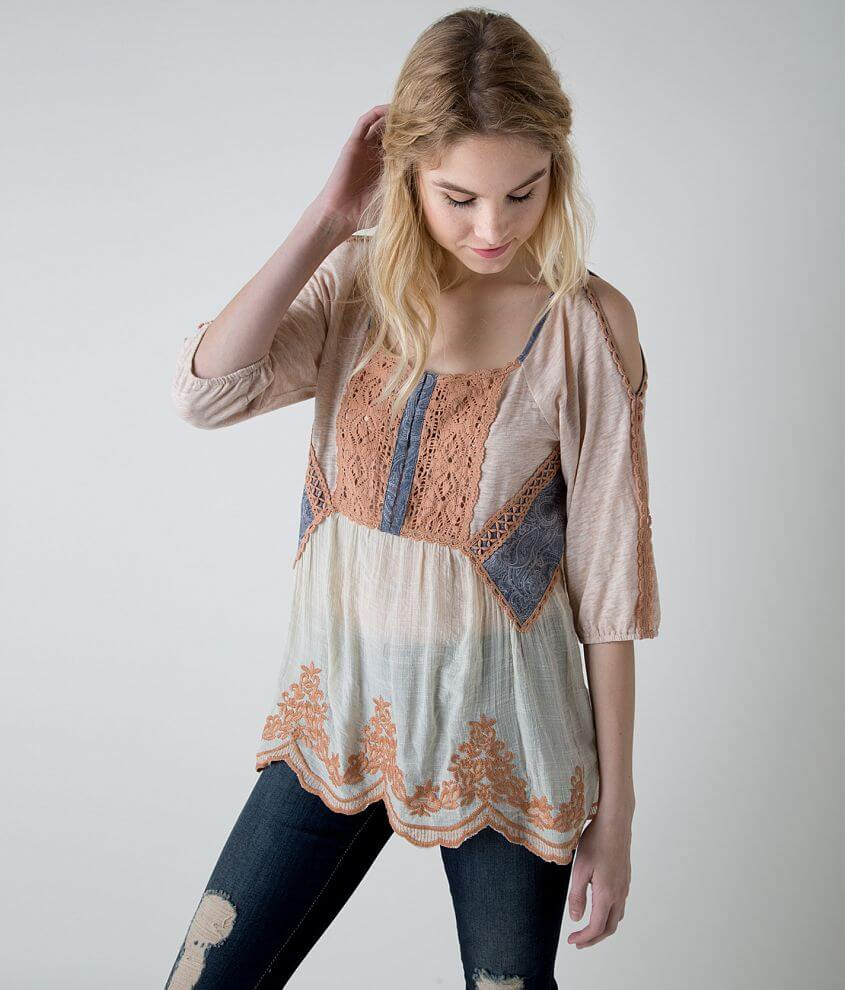 Gimmicks by BKE Crochet Henley Top front view