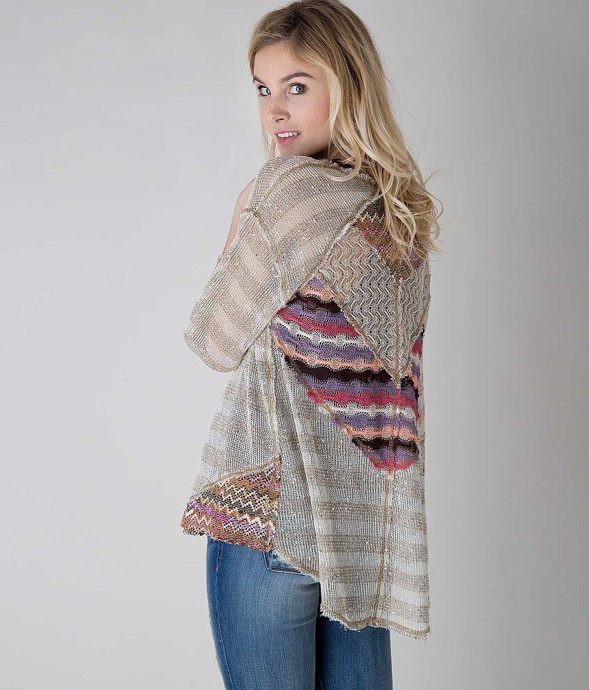 Gimmicks by BKE Pieced Cardigan Sweater front view