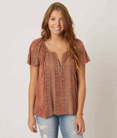 Gimmicks Pieced Henley Top