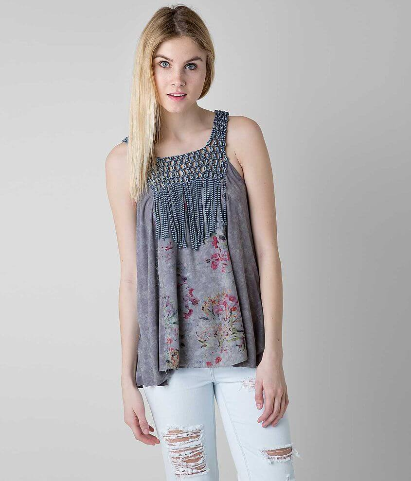 Gimmicks Washed Fringe Tank Top front view