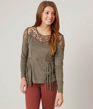 Gimmicks Faux Suede Fringe Top