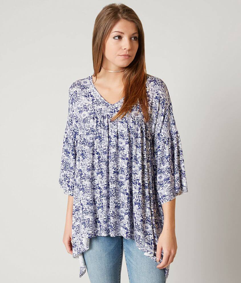 Gimmicks Raw Edge Floral Top front view
