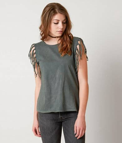 Gimmicks Twisted Back Fringe Tank Top