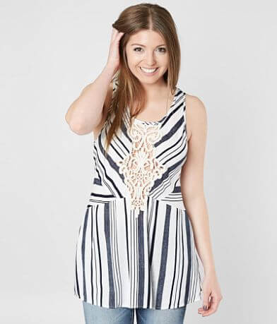 Gimmicks Striped Lace-Up Tank Top