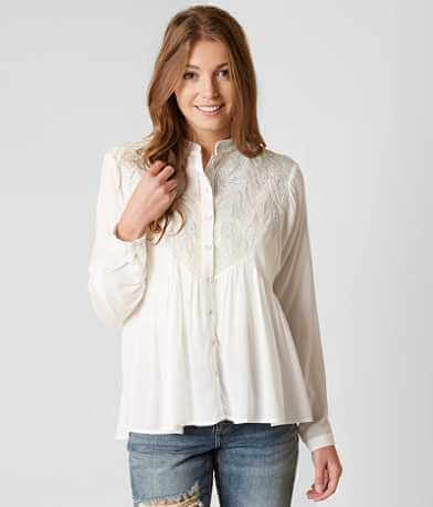 Gimmicks Embroidered Leaf Applique Shirt