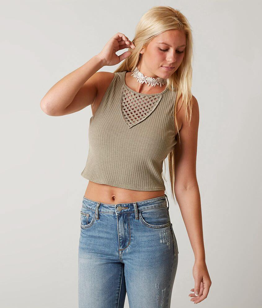 Gimmicks Ribbed Crop Tank Top front view