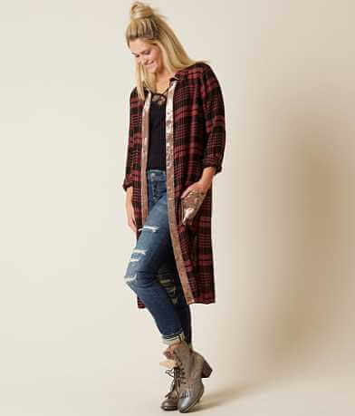 Gimmicks Plaid Duster Cardigan