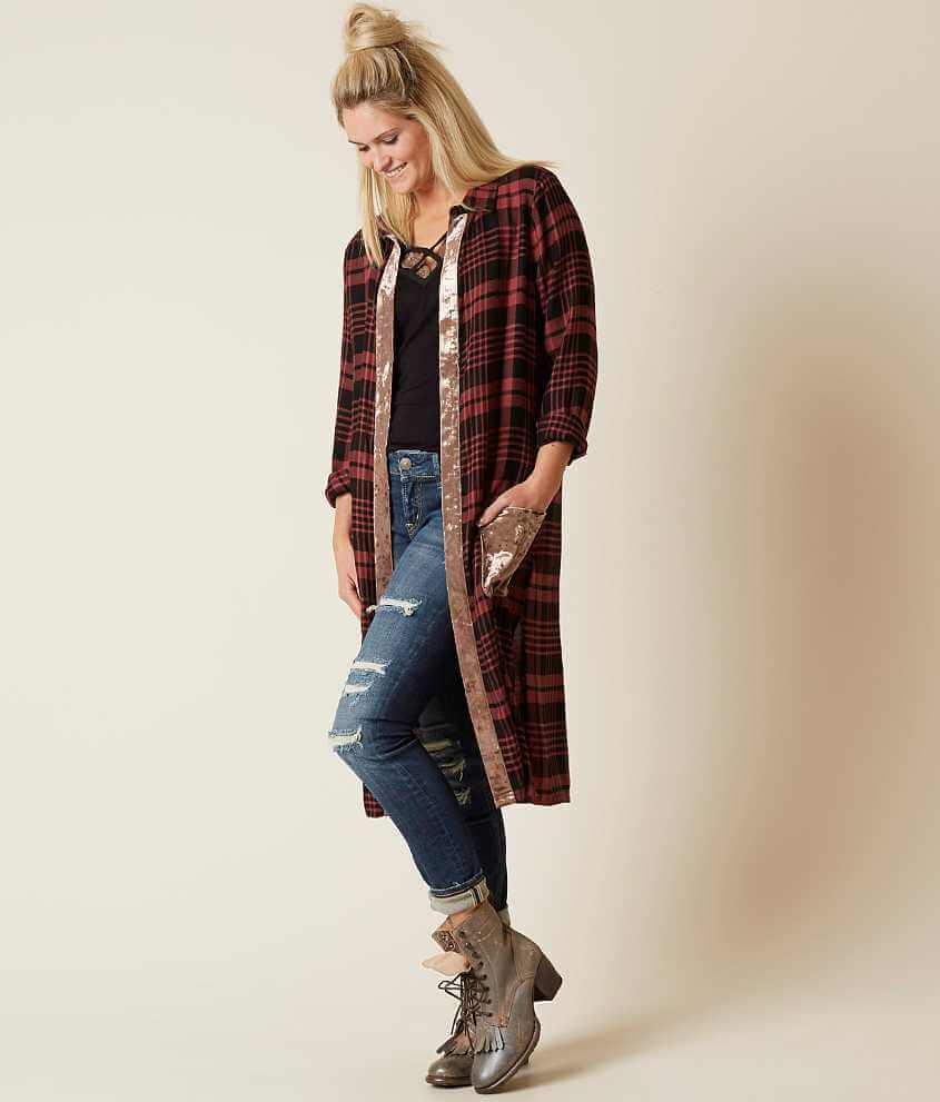 Gimmicks Plaid Duster Cardigan - Women's Cardigans in Mauve Black ...